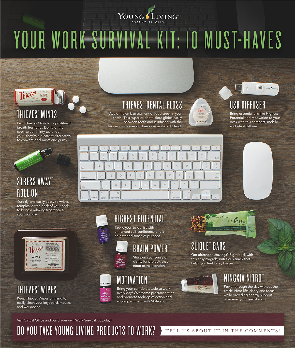 Young Living Essential Oils - Work survival kit - Thieves Mints, Stress Away Roll-On, Thieves Wipes, Highest Potential, Brain Power, Motivation, Slique Bars, NingXia Nitro, Thieves Dental Floss, USB Diffuser