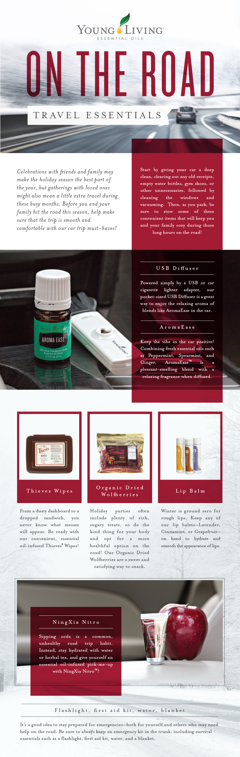 Young Living Travel Essentials - on-the-road-travel-essentials-infographic