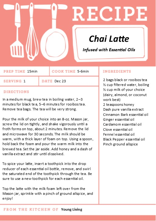 Chai Latte infused with Young Living Essential Oils - Recipe